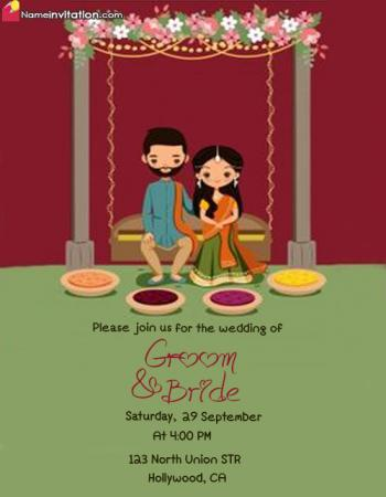 Awesome Indian Wedding Invitation Card With Name Editing