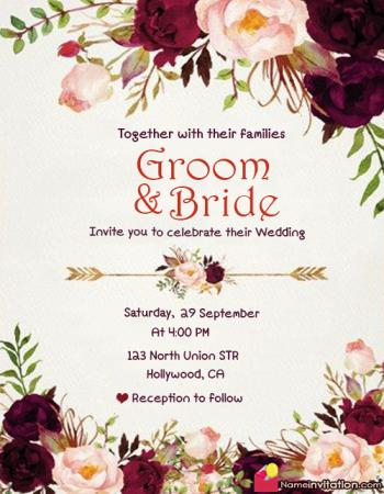 Beautiful Wedding Card With Name Edit Online