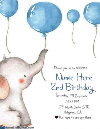 Cute 1st Birthday Invitation Card With Name Edit