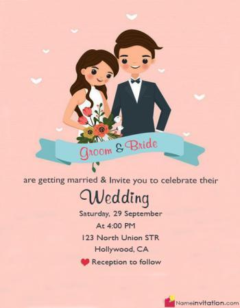 Cute Bride Groom Name Wedding Card Edit Online
