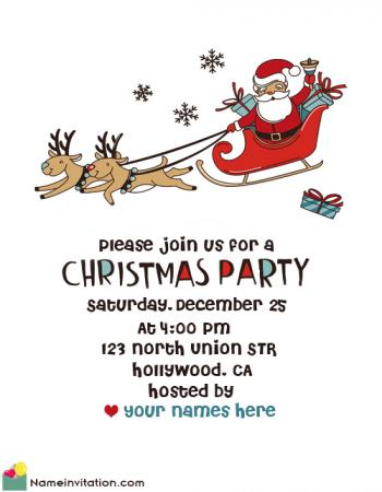 Cute Christmas Invitation Template Free With Name Editing