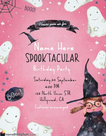 Cute Halloween Happy Birthday Invitation Card With Name