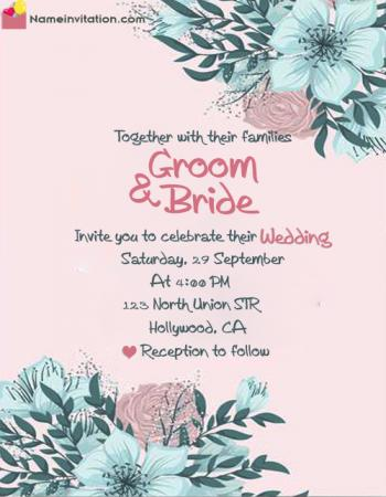 Flowers Wedding Invitation Card With Name Editing In English
