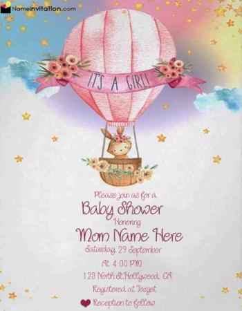 Free Editable Baby Shower Invitation Card For Girl