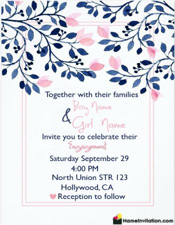 HD Engagement Invitation Card With Name Editing Free Download