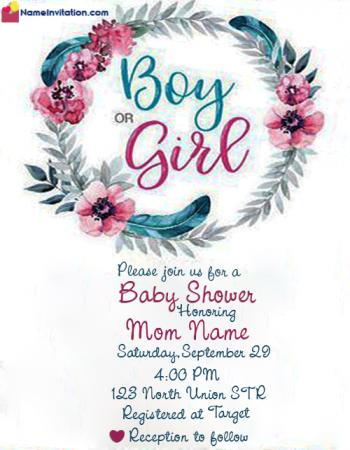 Indian Baby Shower Invitation Card Maker Online With Name