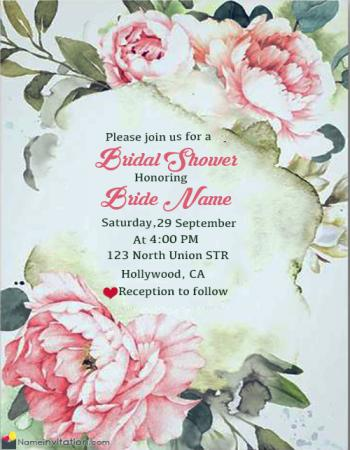 Most Beautiful Bridal Shower Invitation With Name Online