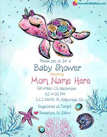Virtual Baby Shower Invitations Free For Girl With Name