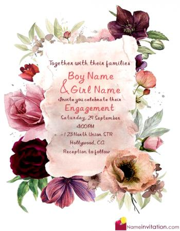 Awesome Engagement Invitation Card With Name Editing Free Download