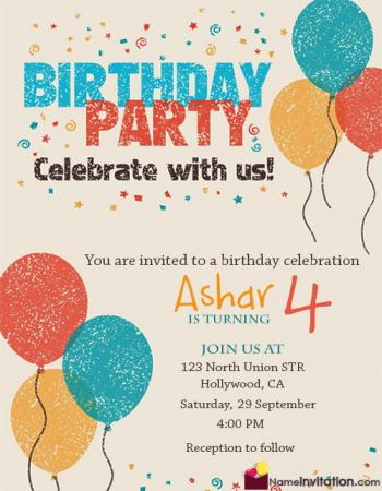 Balloons Birthday Invitation Card With Name Editing