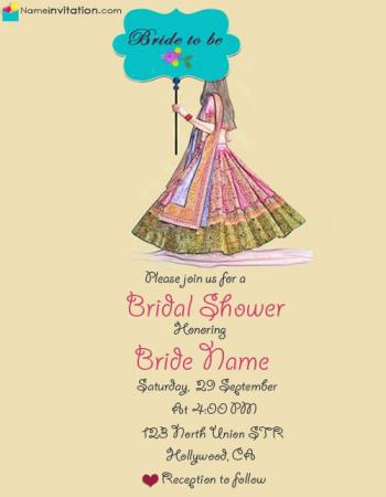 Beautiful Indian Bridal Shower Invitation Cards Free Download