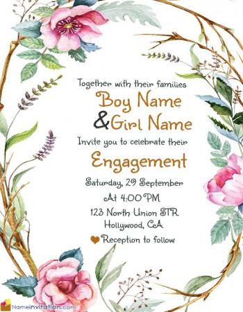 Best Engagement Invitation Card With Name Editing