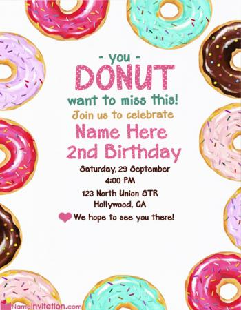 Colorful Donuts Birthday Invitation Cards With Name Edit