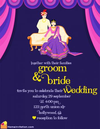 Colorful Online Indian Wedding Card Name Editing Free