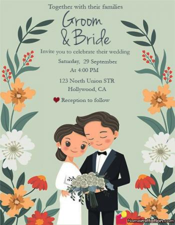 Cute Online Wedding Card Maker With Name And Photo