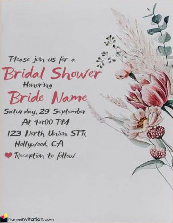 Editable Bridal Shower Invitation Card With Name Free Download