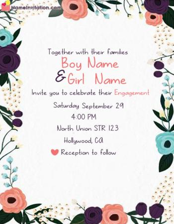 Elegant Engagement Invitation Card With Name Editing Free