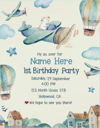 Flying Bear Happy Birthday Invitation Card With Name Edit