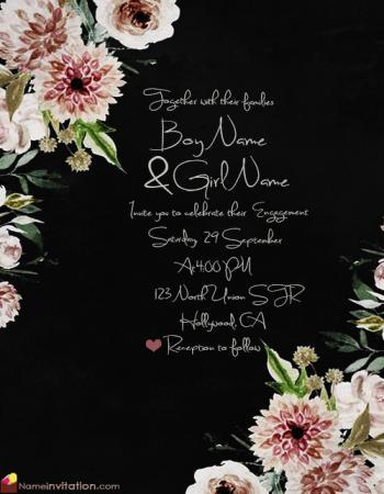 Free Download Elegant Flowers Engagement Invitation Card