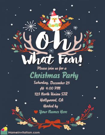 Free Download Invitation Card For Christmas Party With Name