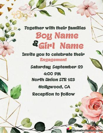 Free Editable Engagement Invitation Card In English With Name