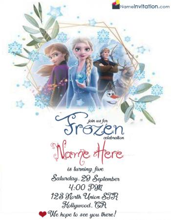 Frozen Girl Birthday Invitation Card With Name Editing