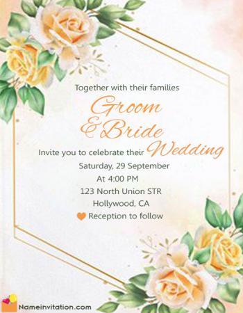 Most Beautiful Wedding Card Name Edit Online Free