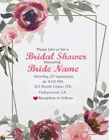 Red Rose Bridal Shower Invitation Card With Grooms Name