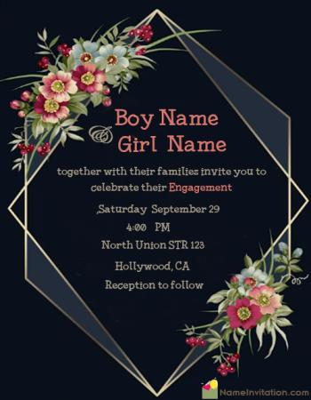 Ring Ceremony Invitation Card With Name Maker Online