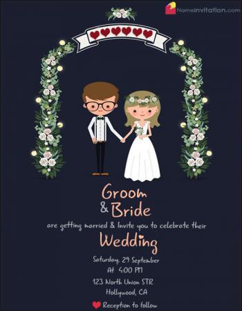Write Couple Name On Adorable Wedding Invitations Card