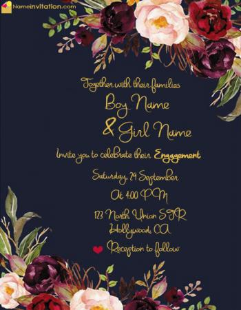 Write Name On Engagement Invitation Card For Free