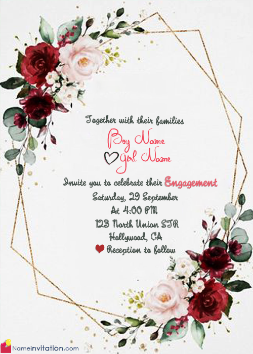 Beautiful Engagement Invitation Card With Couple Name