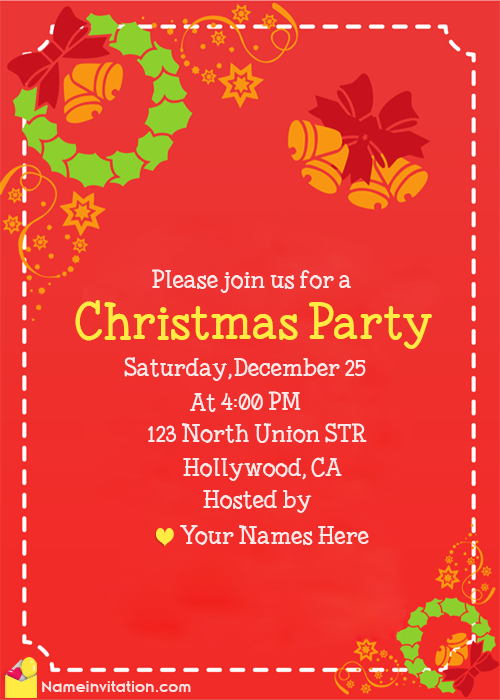 Best Christmas Invitation Card With Name Maker Online