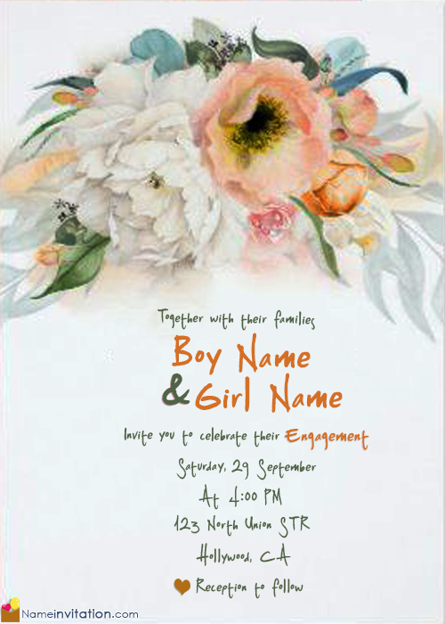 Best Indian Engagement Invitation Card With Name Maker
