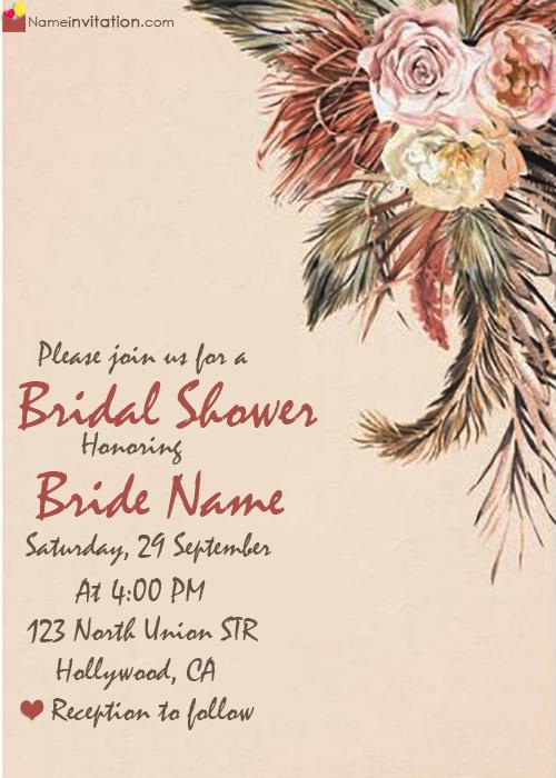 Bridal Shower Invitation Wording Images With Name Online