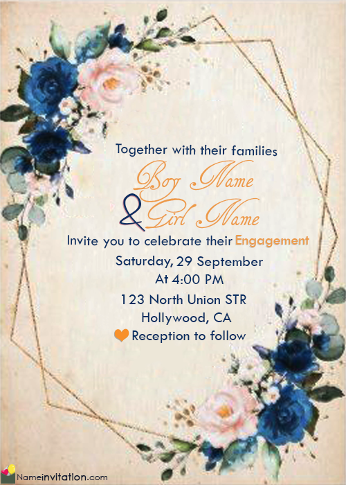 Create Engagement Invitation Card With Name Editing