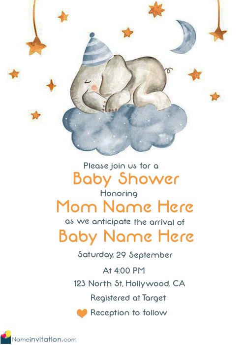 Cute Baby Shower Invitations With Baby Name