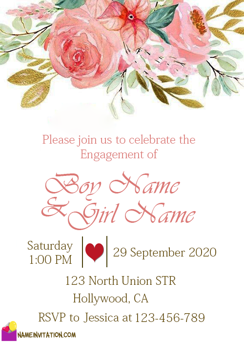 Flowers Engagement Invitation Card With Name Editing