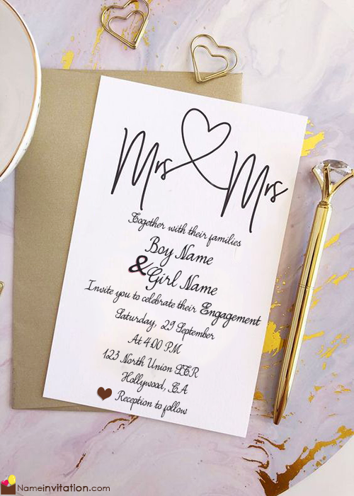 Heart Engagement Invitation Card With Name Maker
