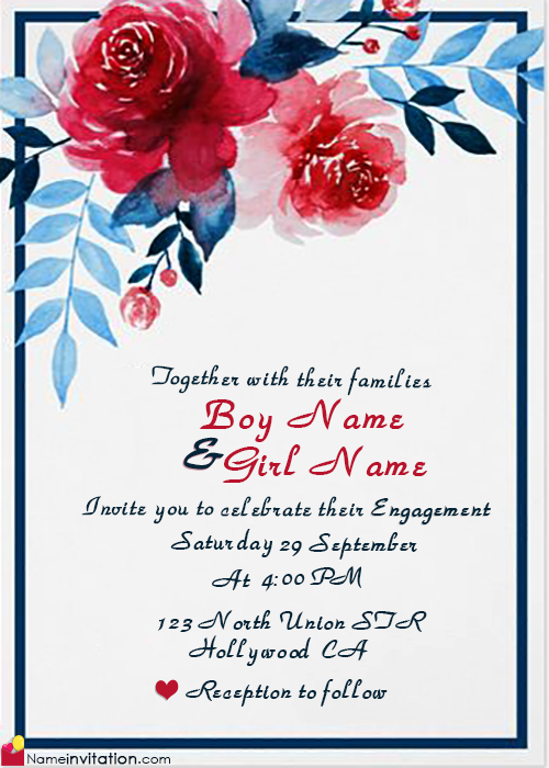 Indian Engagement Invitation Card With Name Editing