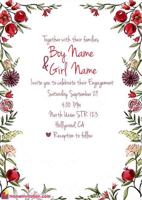 Indian Engagement Invitation Card With Name Editing Online