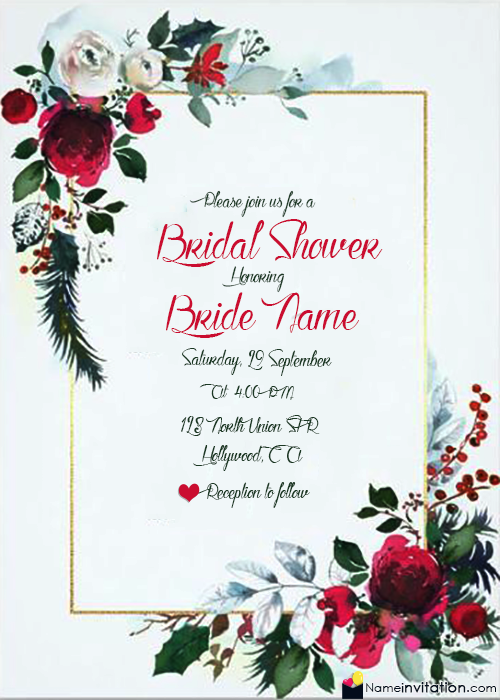 Make Your Own Bridal Shower Invitations With Name Free