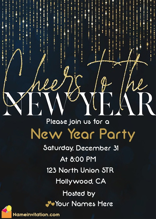 New Year Party Invitation Card With Name Maker Online