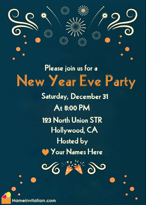 New Year Party Invitation Message With Name Maker