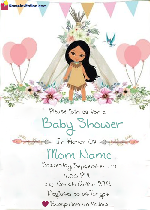 Personalized Girls Baby Shower Invitation Card With Name
