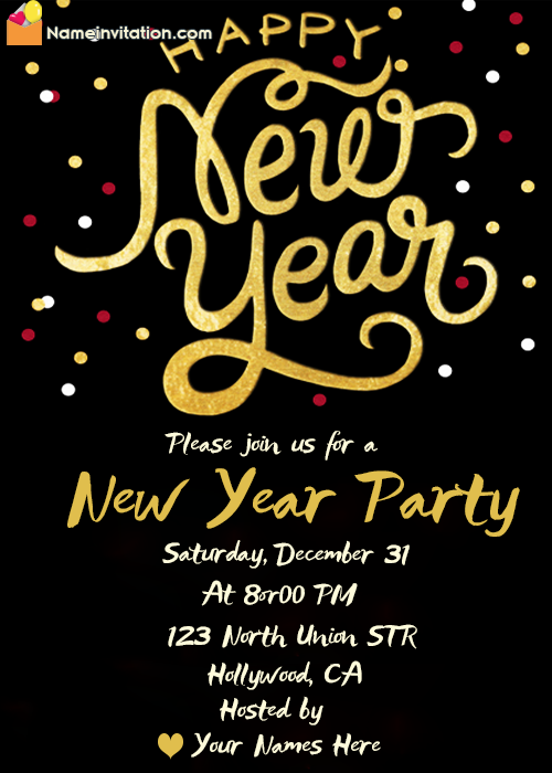 Printable Formal Invitation For New Year Celebration Free