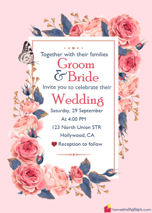 Roses Wedding Invitation Cards With Wordings And Name