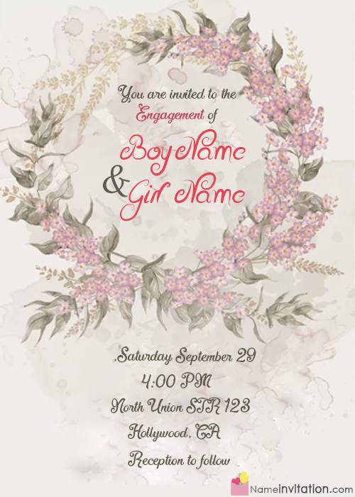 Special Engagement Party Invitation Card With Name Editing Online