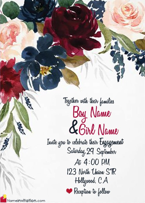 Write Couple Name On Engagement Invitation Card Free